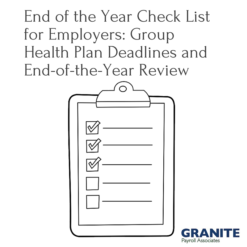 End of the Year Check List for Employers: Group Health Plan